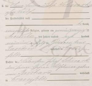 Auszug Heiratsurkunde Brusenfelde 1909